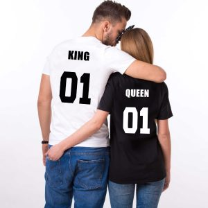 "T-shirt couple ""King Queen"" Mod3"