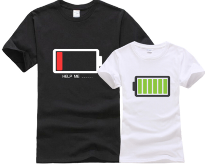 T-shirt couple batterie