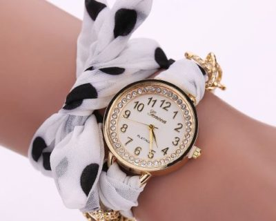 Montre foulard diamants et points - Blanc Noir - Myroxxe