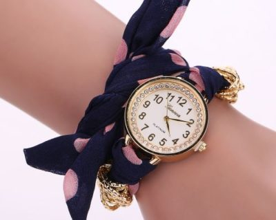 Montre foulard diamants et points - Bleu Rose