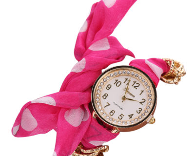 Montre foulard diamants et points - Rose Blanc 2