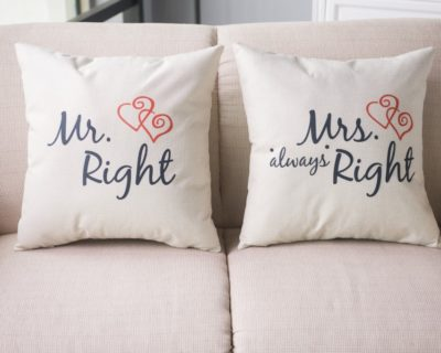 Taies oreillers couple Mr right Mrs always right