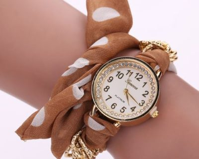 Montre foulard diamants et points - Marron Blanc
