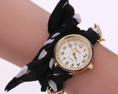 Montre foulard diamants et points - Blanc Noir