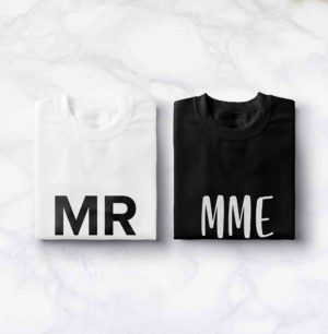 "T-shirt couple ""Mr & Mrs""2 BD"