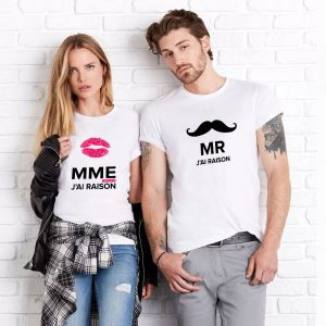 "T-shirt couple ""Mrs Always Right Mr Right"" mod2 2"