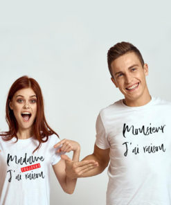 "T-shirt couple ""Mrs Always Right Mr Right"" mod3 blanc 2"