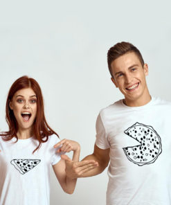 t-shirt couple – Pizza devant 2