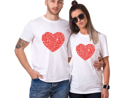 "T-shirt couple "" coeur"""