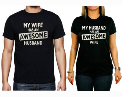 "T-shirt couple ""Awesome husband / Wife""- couple vêtements assortis"