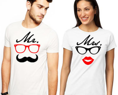 "T-shirt couple ""Mr & Mrs mod2""- couple vêtements assortis"