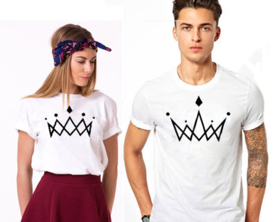 "T-shirt couple ""couronne""- couple vêtements assortis"