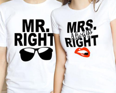 "T-shirt couple ""Mrs Always Right / Mr Right"" mod6"