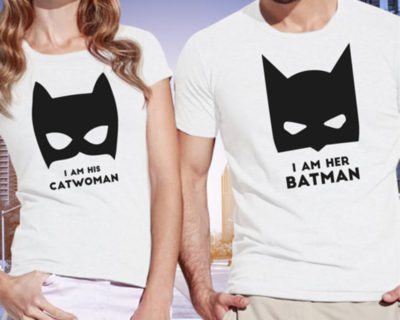 "T-shirt couple ""I am his Catwoman, I am her Batman"""