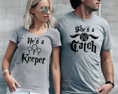 "T-shirt couple ""he's a keeper, she's a catch"""