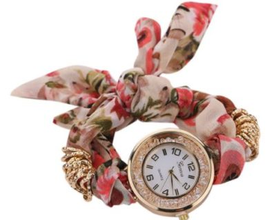 Montre foulard et diamants - Rose Vert