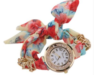 Montre foulard et diamants - Rouge Bleu