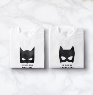 "T-shirt couple ""I am his Catwoman, I am her Batman""23"