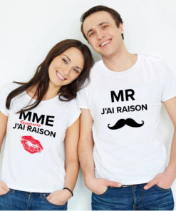 "T-shirt couple ""Mrs Always Right Mr Right"" mod6 2"