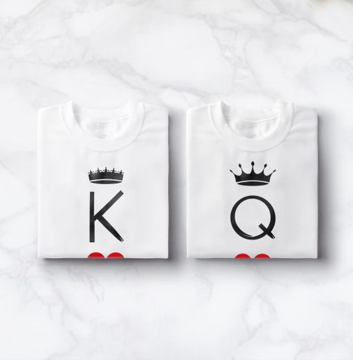t-shirt couple Roi Reine jeu de carte 2