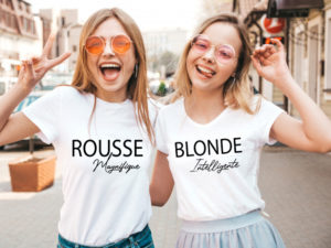 T-SHIRT assortis blonde brune rousse