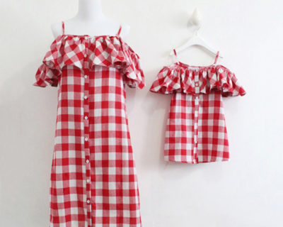 Robes assortis mère fille à carreaux rouge
