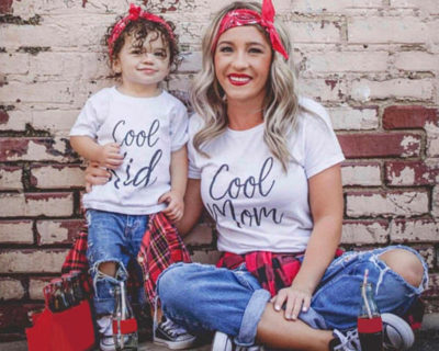 t-shirt assortis mère fille Maman Cool - Enfant cool