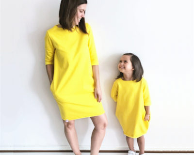Robes assortis mère fille jaune