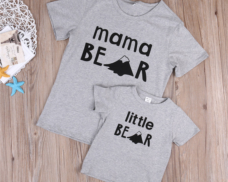 """T-shirt assortis mère fille """"maman ours - petit ours"""""""