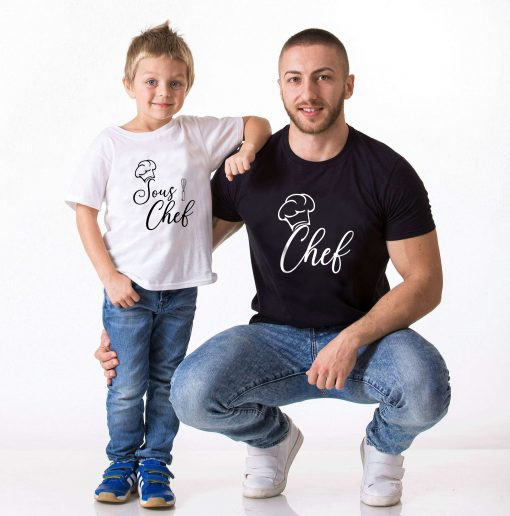 T-shirt parent enfant- Chef - sous chef (1)