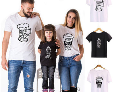 Tee-shirt – Famille – Need Beer / Need Coffe / Need Milk