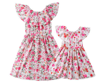 Robes assortis – Mère Fille – Col Floral