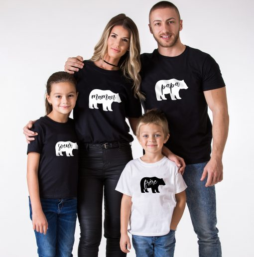 T-shirt assortis Famille - Ours (1)