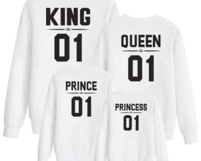 sweat assortis Famille king queen prince princess 2 s