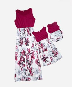 Robes mère fille assortis - Rouge Boja (1)
