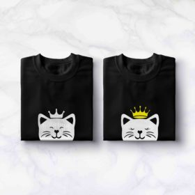 T-shirt couple – King Queen Chat blanc 2