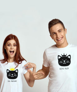 T-shirt couple – King Queen Chat blanc 57