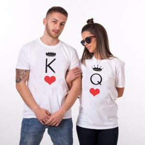 t-shirt couple Roi Reine jeu de carte 2T
